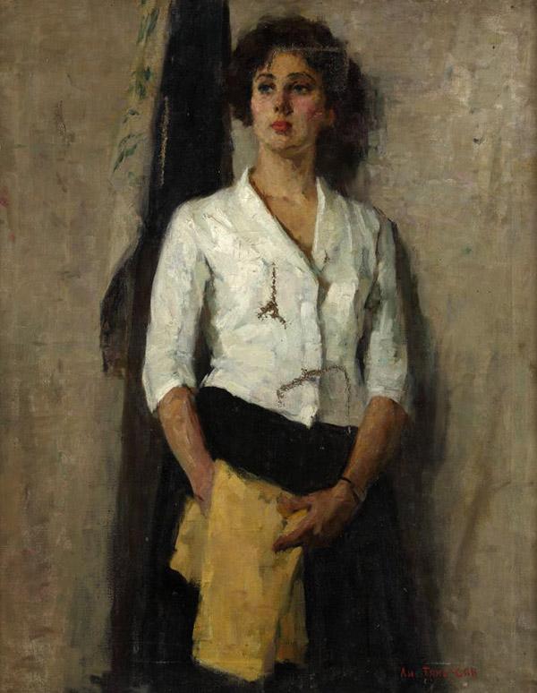 李天祥  俄羅斯少女  布面油畫  100X80cm  1957年